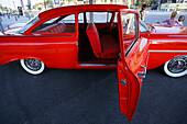 Red vintage car, Dubai, UAE, United Arab Emirates, Middle East, Asia