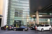 Luxury cars in front of Dubai Mall, Dubai, UAE, United Arab Emirates, Middle East, Asia