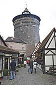 Tourists in the Handwerkerhof, Crafts yard, Nuremberg, Franconia, Bavaria, Germany
