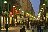 Urban scene with pedestrian area, Via Guiseppe Garibaldi, Turin, Piedmont, Italy