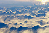 Evening light over a mountain range on Greenland, from above  October 2005)