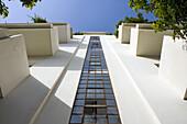 Low angle view at original Bauhaus building, Emile Zola Street, Tel Aviv, Israel, Middle East