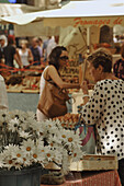 People and flowers at the market, Aix-en-Provence, Provence, France, Europe