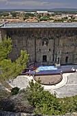 High angle view at antique roman theater, Orange, Provence, France, Europe