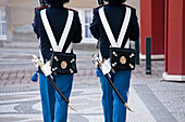 Royal guard officers in front of Amalienborg palace, Copenhagen, Denmark
