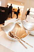 Silver bowl in the Georg Jensen Design shop, Royal Copenhagen Flagship store, Copenhagen, Denmark