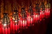 Moroccan lamps at Café Arabe restaurant, Marrakech, Morocco