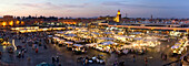 Panorama of Jemaa El Fna, the heart of Marrakech, Morocco, Africa