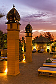 Rooftop terrace of Riad La Sultana in the evening light, Luxury Hotel, Marrakech, Morocco, Africa
