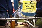 Warning sign, Maypole climbing, Zell an der Pram, Upper Austria, Austria