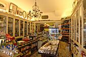 Store of Italian delicatessen in Taormina, Messina Province, Sicily, Italy, Europe