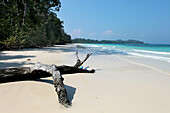 View over the deserted beach at Merk Bay, North Passage Island, Middle Andaman, Andamans, India