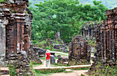 In group B and C of the Cham temple complex, abandoned and partially ruined Hindu temples constructed between the 4th and the 14th century A.D. by the kings of Champa, My Son near Da Nang, Vietnam
