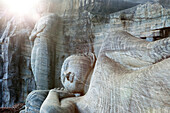 12 meter long dying Buddha statue carved out of a granite rock, Gal Vihara, Polonnaruwa, Sri Lanka, Asia