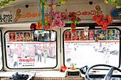 Public bus with religious decoration, Kandy, Sri Lanka, Asia