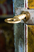 Key in the door for the entrace to the Dowa Rock Temple, Ella, Highland, Sri Lanka, Asia