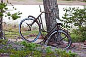 Old, broken bike at the Höga Kusten, bay of Storsands Havsbad, Vaesternorrland, Sweden, Europe