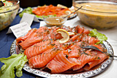 Plate with salmon, Sweden, Europe