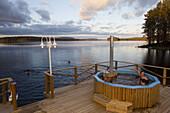 People at eco spa at lake of Trehörningsjö, Vaesternorrland, Sweden, Europe
