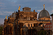 Lipsius building with dome and angel sculptures seen from Brühl´s Terrace, Dresden, Saxony, Germany
