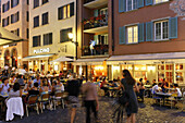 Switzerland, Zurich, Niederdorf, people, restaurants in summer, outdoor