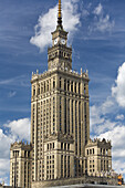 The Soviet-style Palace of Culture and Sciences under clouded sky, Warsaw, Poland, Europe