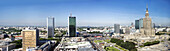 Panoramic view of the Palace of Culture and Sciences and modern high rise buildings, Warsaw, Poland, Europe