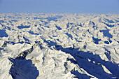 Stubai range in winter, aerial photo, Stubai range, Tyrol, Austria, Europe