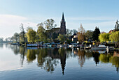 St. Mary's Church at the lake in Roebel, Mecklenburg lake District, Mecklenburg-Western Pomerania, Germany