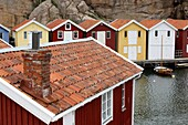 Fishermans houses on the waterfront, Smoegen, Sweden, Europe