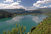 View over the Bleder Lake, Blejske Jezero, Bled, Veldes, Julian Alps, Slovenia, Europe