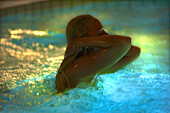 Woman is bathing in a swimming pool with illumination in the evening