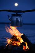 Coffeepot over fire
