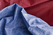 Red and blue tarpaulins
