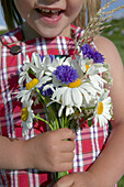 Girl has picked a bouquet of daisies and cornflower