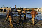 Wooden statue of Risto Karvinen, Helsingborg harbour (Norra Hamnen), Skane, Sweden