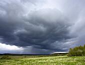 Stormy weather over agricultural fields. Hovdala, Hassleholm, Skane, Sweden