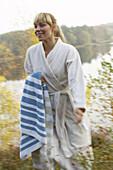 Woman in robe, Skane, Sweden