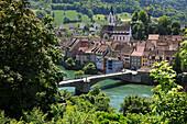 Blick von oben auf Brücke und Häuser, Laufenburg, Hochrhein, Kanton Aargau, Schweiz, Europa