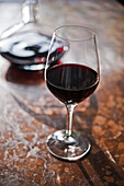 Glass of red wine, Munich, Bavaria, Germany