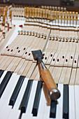 Tool on piano keys, piano making, Bavaria, Germany