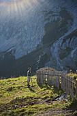 Man near fence, Schachen, Wetterstein range, Upper Bavaria, Germany