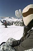 Snowboarder with ski helmet on the ski slope, skiing, Austria, Alps, Europe