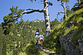 Mother and daughter mountain hiking on Herzogstand, Alps, Upper Bavaria, Germany