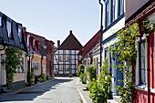 Lane in the historical center of Ysatd, Ystad, Skane, South Sweden, Sweden