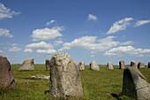 Stone circle Ales Sternar near Kaseberga, Ystad, Skane, South Sweden, Sweden
