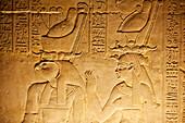 God relief in the Hypostyle Hall, Temple of Horus, Temple of Edfu, Edfu, Egypt, Africa