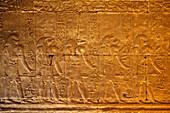 Relief in the Temple of Horus, Temple of Edfu, Edfu, Egypt, Africa