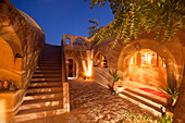 Illuminated patio of the Eskaleh Hotel in the evening, Abu Simbel, Egypt, Africa