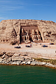 View at the Temple of Rameses II. in the sunlight, Abu Simbel, Egypt, Africa